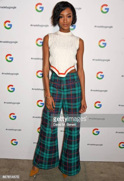 Jourdan Dunn attends Google's Pixel 2 phone launch at The Old Selfridges Hotel on October 4 2017 in London England