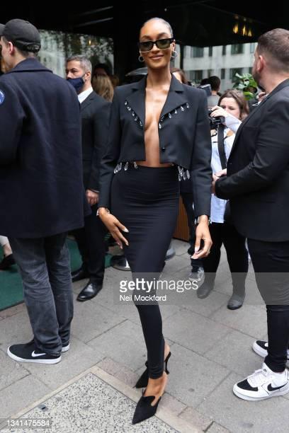 Jourdan Dunn attends OSMAN at Amazonico during London Fashion Week September 2021 on September 20, 2021 in London, England.