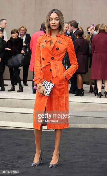 Jourdan Dunn attends the Burberry Prorsum show at the London Collections Men AW15 at Kensington Gardens on January 12 2015 in London England
