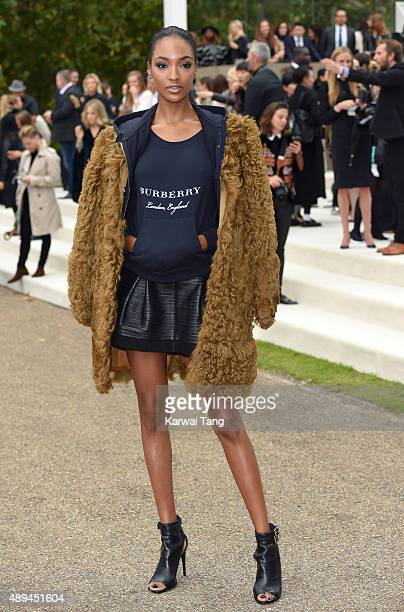 Jourdan Dunn attends the Burberry Prorsum show during London Fashion Week Spring/Summer 2016/17 at Kensington Gardens on September 21 2015 in London...