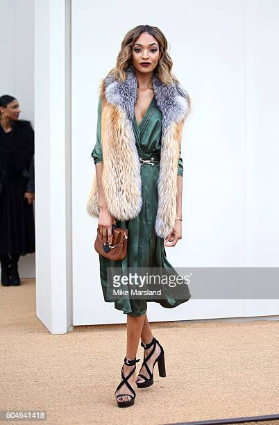 Jourdan Dunn attends the Burberry show during The London Collections Men AW16 at Kensington Gardens on January 11 2016 in London England