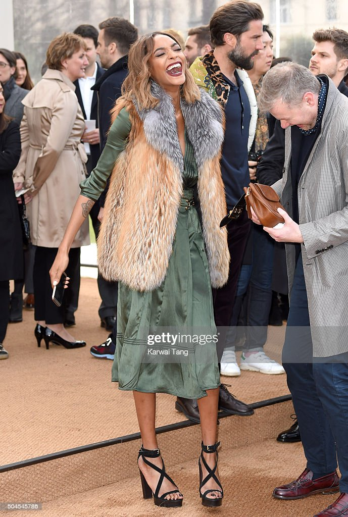 Jourdan Dunn attends the Burberry show during The London Collections Men AW16 at Kensington Gardens on January 11, 2016 in London, England.