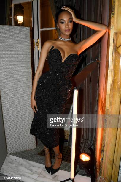 Jourdan Dunn attends the CR Fashion Book X Redemption photocall as part of the Paris Fashion Week Womenswear Fall/Winter 2020/2021 on February 28,...
