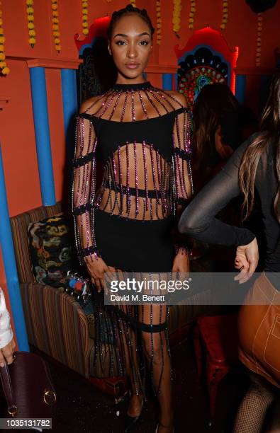 Jourdan Dunn attends the LOVE Magazine 10th birthday party with PerrierJouet at Loulou's on September 17 2018 in London England