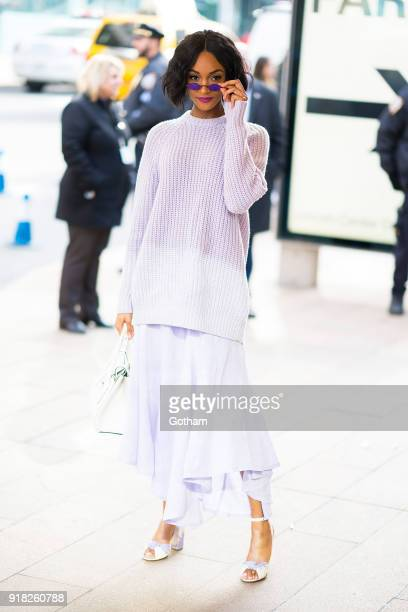 Jourdan Dunn attends the Michael Kors fashion show during New York Fashion Week at the Vivian Beaumont Theater at Lincoln Center on February 14 2018...