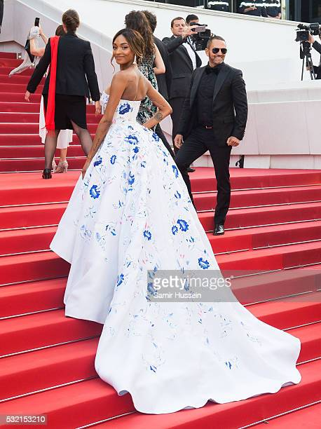 Jourdan Dunn attends the screening of 'The Unkown Girl ' at the annual 69th Cannes Film Festival at Palais des Festivals on May 18 2016 in Cannes...