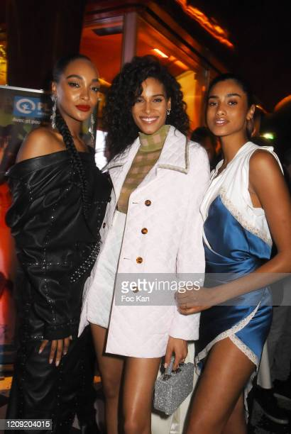 Jourdan Dunn Cindy Bruna and Immam Hammam attend Women to Women Auction Party at les Bains on February 27 2020 in Paris France