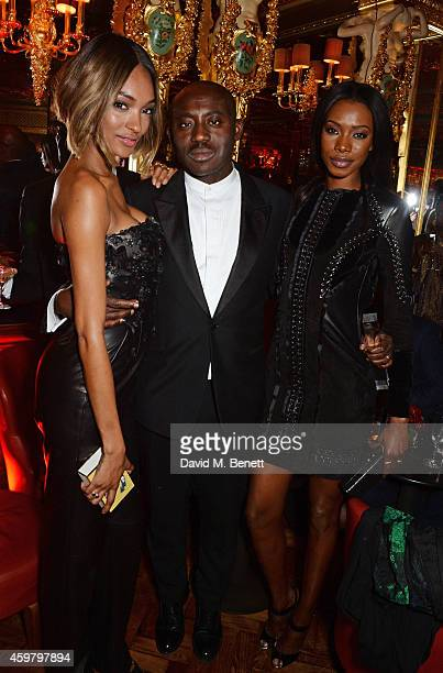 Jourdan Dunn Edward Enninful and Sigail Currie attend a party in celebration of Edward Enninful in The Oscar Wilde Bar Hotel Cafe Royal on December 1...