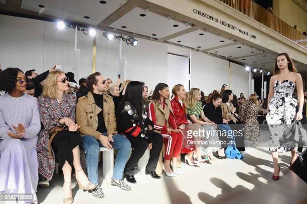 Jourdan Dunn Eva Herzigova Derek Blasberg Law Roach Zendaya Blake Lively and Emily Blunt watch Bella Hadid walk the runway during the Michael Kors...