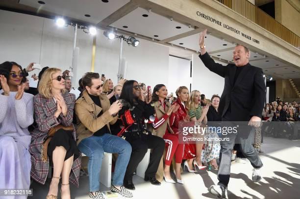 Jourdan Dunn Eva Herzigova Derek Blasberg Law Roach Zendaya Blake Lively and Emily Blunt watch Michael Kors walk the runway during the Michael Kors...