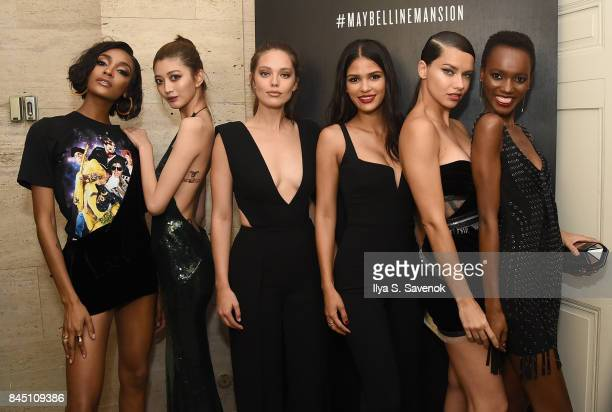 Jourdan Dunn IHua Wu Emily DiDonato Cris Urena Adriana Lima and Herieth Paul attend a night at the Maybelline Mansion presented by V on September 9...