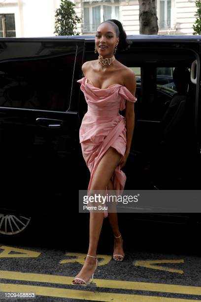 Jourdan Dunn is seen arriving at her hotel on February 29 2020 in Paris France