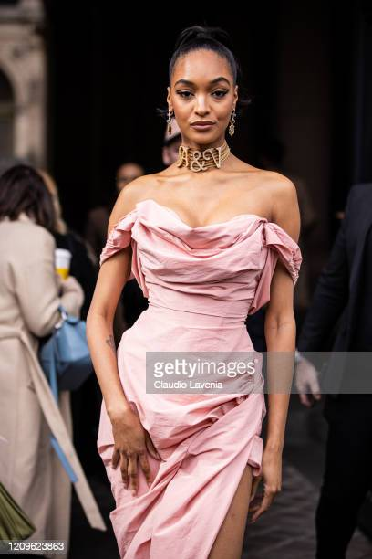 Jourdan Dunn is seen outside Vivienne Westwood fashion show on February 29 2020 in Paris France