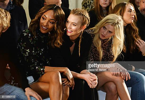 Jourdan Dunn, Karlie Kloss and Lara Stone attend the Topshop Unique at The Tate Britain on February 21, 2016 in London, England.