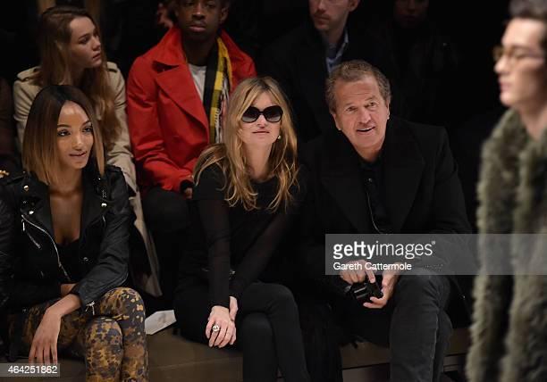 Jourdan Dunn, Kate Moss and Mario Testino attend the Burberry Prorsum AW 2015 show during London Fashion Week at Kensington Gardens on February 23,...