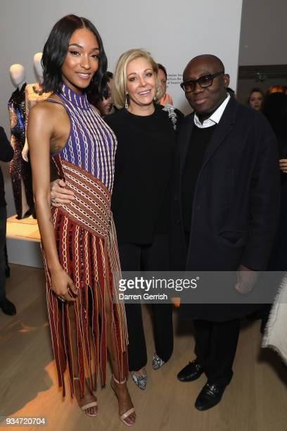 Jourdan Dunn Nadja Swarovski and Edward Enninful attend Atelier Swarovski 10th Anniversary Book Launch at Phillips Gallery on March 19 2018 in London...