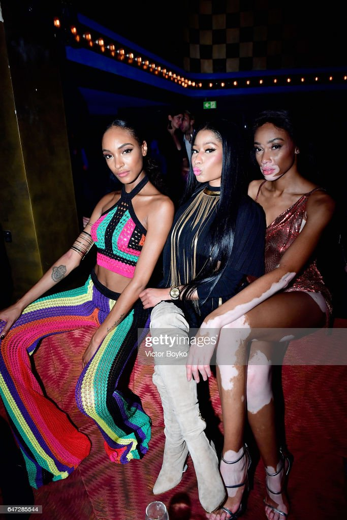 Jourdan Dunn, Nicki Minaj, and Winnie Harlow attend Balmain aftershow party as part of Paris Fashion Week Womenswear Fall/Winter 2017/2018 at Manko Paris on March 2, 2017 in Paris, France.