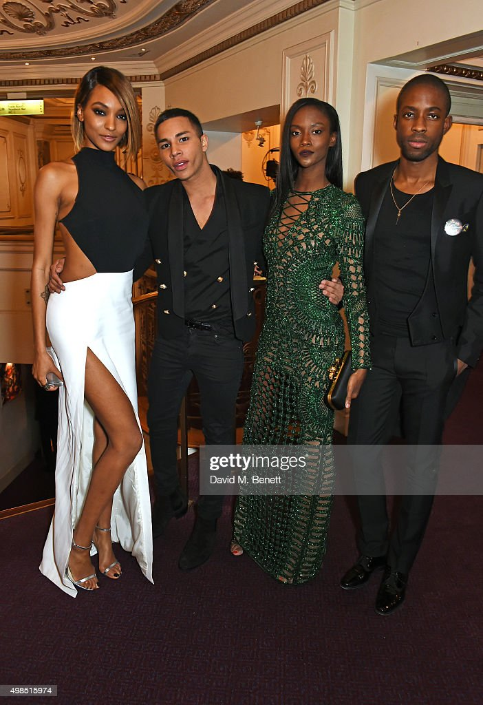 Jourdan Dunn, Olivier Rousteing, Riley Montana and Emmanuel Ezugwu attend a drinks reception at the British Fashion Awards in partnership with Swarovski at the London Coliseum on November 23, 2015 in London, England.