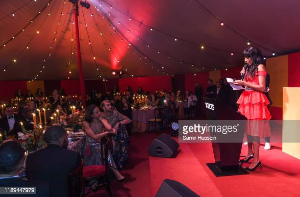 Jourdan Dunn on stage at the gala dinner in honour of Edward Enninful winner of the Global VOICES Award 2019 during #BoFVOICES on November 22 2019 in...