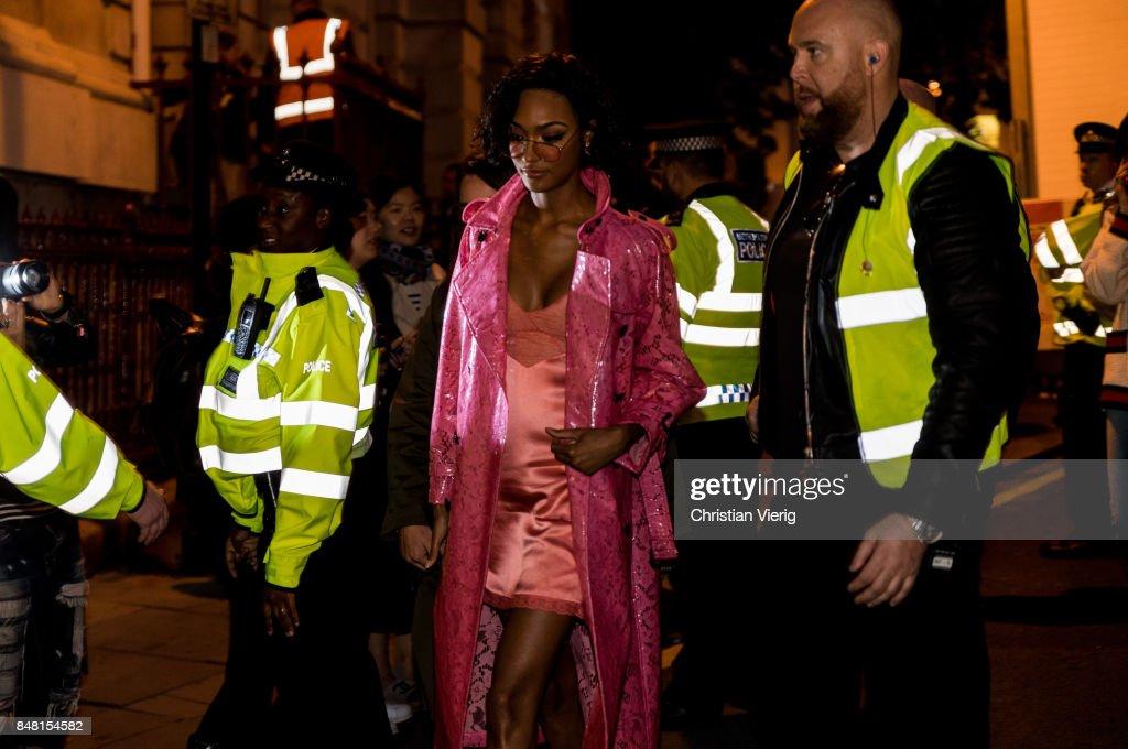 Jourdan Dunn outside Burberry during London Fashion Week September 2017 on September 16, 2017 in London, England.