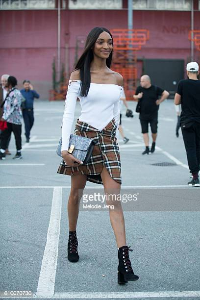 Jourdan Dunn outside the Versace Show during Milan Fashion Week Spring/Summer 2017 on September 23 2016 in Milan Italy