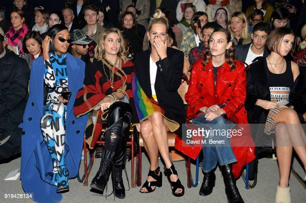 Jourdan Dunn, Paris Jackson, Poppy Delevingne, Alexa Chung and Iris Law wearing Burberry at the Burberry February 2018 show during London Fashion...