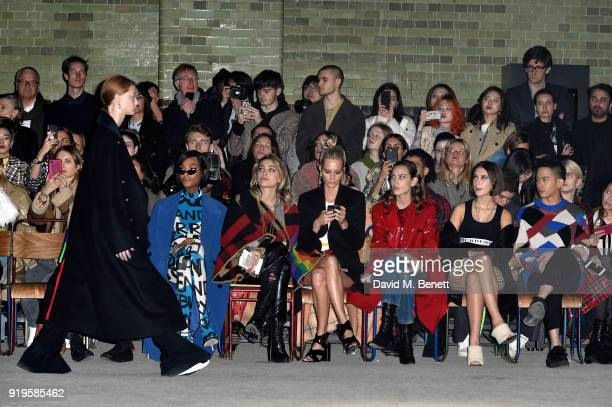 Jourdan Dunn, Paris Jackson, Poppy Delevingne, Alexa Chungg, Iris Law and Mason Lee wearing Burberry at the Burberry February 2018 show during London...