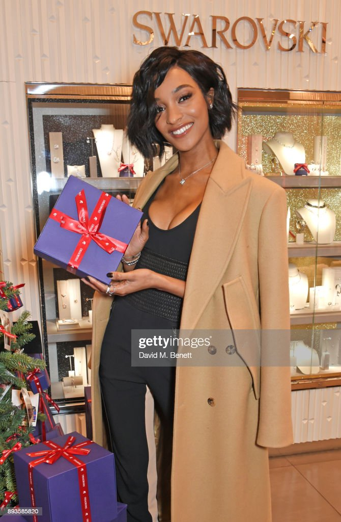 Jourdan Dunn poses at an exclusvie meet and greet at Swarovski, Westfield Stratford City, on December 15, 2017 in London, England.
