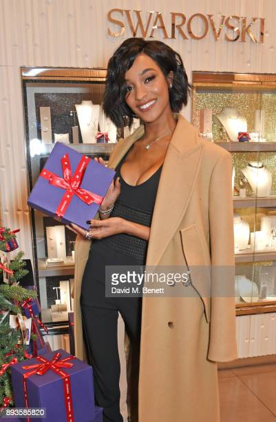 Jourdan Dunn poses at an exclusvie meet and greet at Swarovski Westfield Stratford City on December 15 2017 in London England