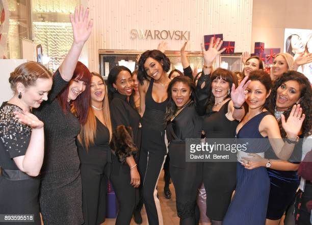 Jourdan Dunn poses with fans at an exclusvie meet and greet at Swarovski Westfield Stratford City on December 15 2017 in London England