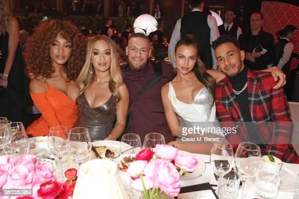 Jourdan Dunn Rita Ora Conor McGregor Irina Shayk and Lewis Hamilton attend a drinks reception ahead of The Fashion Awards 2017 in partnership with...