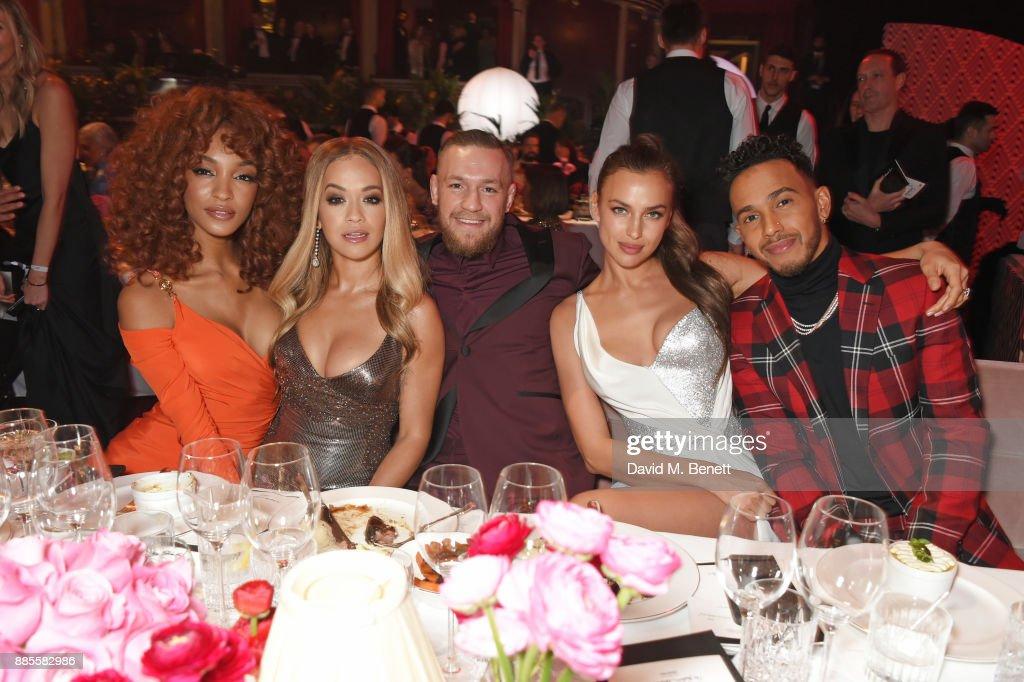 Jourdan Dunn, Rita Ora, Conor McGregor, Irina Shayk and Lewis Hamilton attend a drinks reception ahead of The Fashion Awards 2017 in partnership with Swarovski at Royal Albert Hall on December 4, 2017 in London, England.