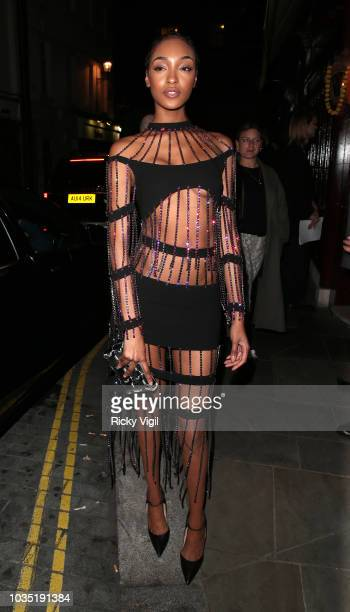 Jourdan Dunn seen attending LOVE Magazine party at No 5 Hertford Street during London Fashion Week September 2018 on September 17 2018 in London...