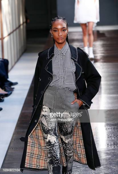 Jourdan Dunn walks the runway at the Burberry show during London Fashion Week September 2018 at The South London Mail Centre on September 17 2018 in...