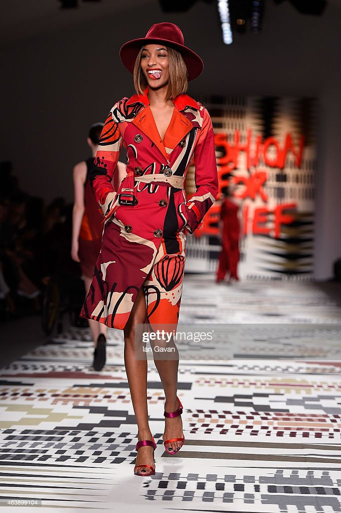 Jourdan Dunn walks the runway at the Fashion For Relief charity fashion show to kick off London Fashion Week Fall/Winter 2015/16 at Somerset House on February 19, 2015 in London, England. The Fashion For Relief show is in support of Ebola, raising funds and awareness for Disaster Emergency Committee: Ebola Crisis Appeal and the Ebola Survival Fund.