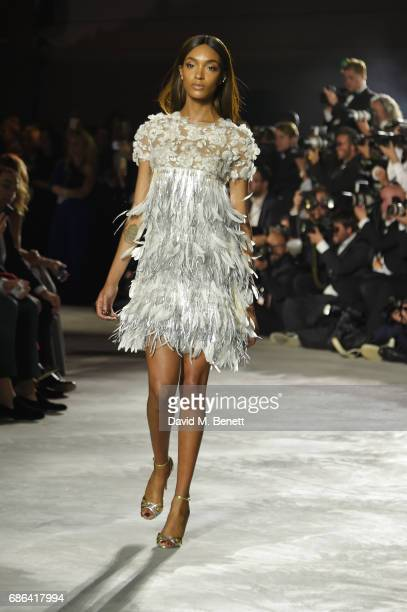 Jourdan Dunn walks the runway at the Fashion for Relief event during the 70th annual Cannes Film Festival at Aeroport Cannes Mandelieu on May 21 2017...