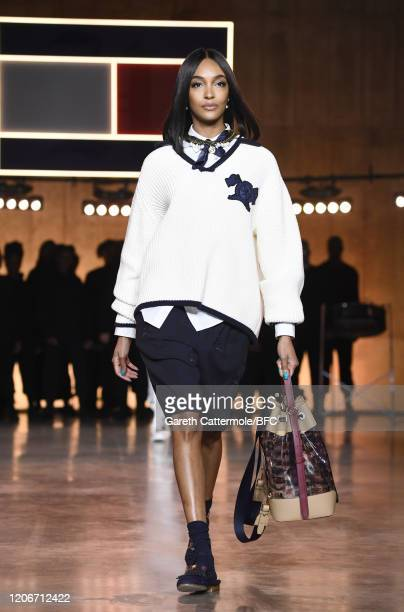 Jourdan Dunn walks the runway at the TommyNow show during London Fashion Week February 2020 at the Tate Modern on February 16, 2020 in London,...