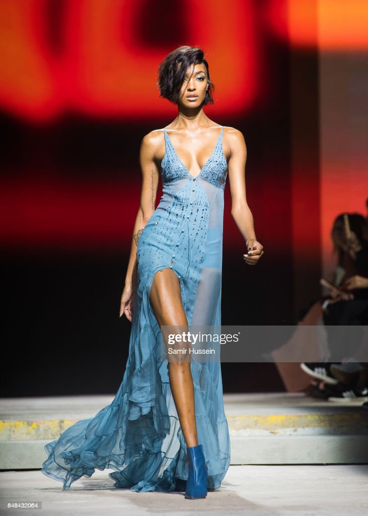 Jourdan Dunn walks the runway at the TOPSHOP show during London Fashion Week September 2017 on September 17, 2017 in London, England.