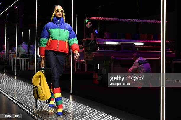 Jourdan Dunn walks the runway at the United Colours Of Benetton show at Milan Fashion Week Autumn/Winter 2019/20 on February 19 2019 in Milan Italy
