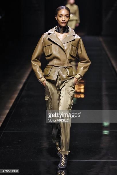 Jourdan Dunn walks the runway during the Balmain show as part of the Paris Fashion Week Womenswear Fall/Winter 20142015 on February 27 2014 in Paris...