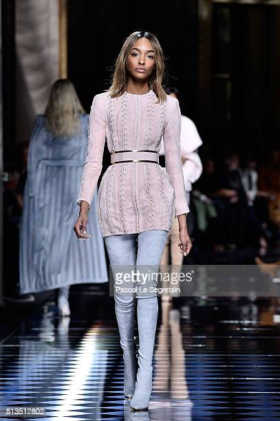 Jourdan Dunn walks the runway during the Balmain show as part of the Paris Fashion Week Womenswear Fall/Winter 2016/2017 on March 3 2016 in Paris...