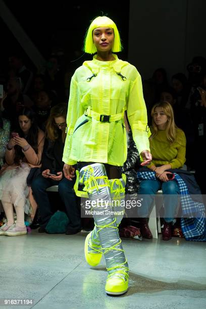 Jourdan Dunn walks the runway during the Jeremy Scott fashion show during New York Fashion Week The Shows at Gallery I at Spring Studios on February...
