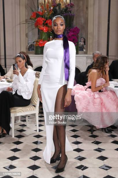 Jourdan Dunn walks the runway during the Monot show as part of the Paris Fashion Week Womenswear Fall/Winter 2020/2021 on February 29 2020 in Paris...
