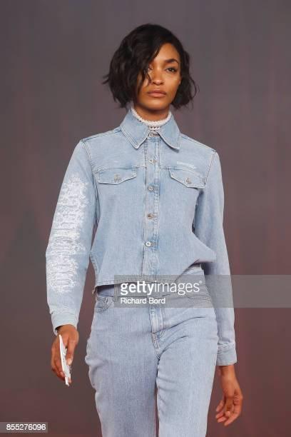 Jourdan Dunn walks the runway during the Off/White show as part of Paris Fashion Week Womenswear Spring/Summer 2018 on September 28 2017 in Paris...
