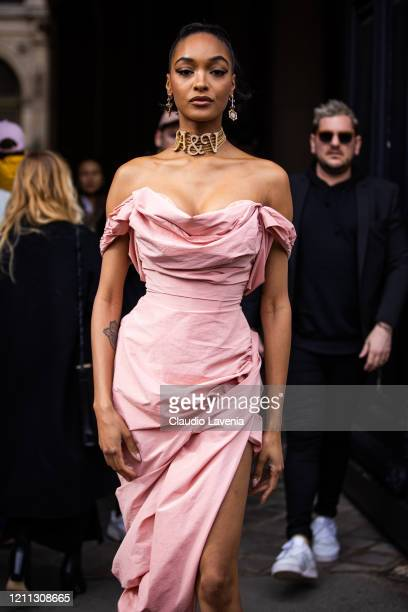 Jourdan Dunn wearing a pink dress and gold necklace is seen outside Vivienne Westwood during Paris Fashion Week Womenswear Fall/Winter 2020/2021 Day...
