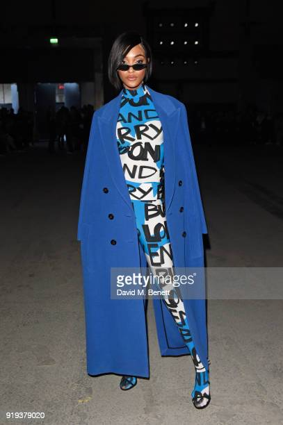 Jourdan Dunn wearing Burberry at the Burberry February 2018 show during London Fashion Week at Dimco Buildings on February 17 2018 in London England