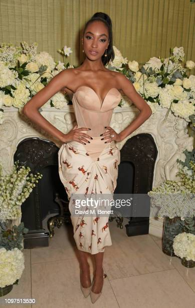 Jourdan Dunn wearing Tiffany & Co. Attends the British Vogue and Tiffany & Co. Celebrate Fashion and Film Party at Annabel's on February 10, 2019 in...