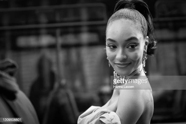 Jourdan Dunn wearing Vivienne Westwood pink offshoulder dress outside Vivienne Westwood show Paris Fashion Week Womenswear Fall/Winter 2020/2021 Day...