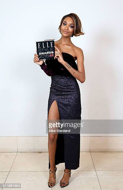 Jourdan Dunn winner of the Style Influencer of the Year award poses in the winners room at The Elle Style Awards 2016 on February 23 2016 in London...