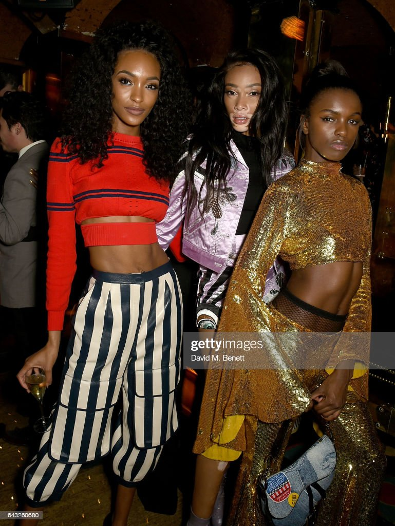 Jourdan Dunn, Winnie Harlow and Leomie Anderson at the LOVE and Burberry London Fashion Week Party at Annabel's celebrating Katie Grand and Kendall Jenner's #LOVEME17 on February 20, 2017 in London, United Kingdom.